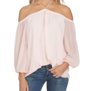 1. State Lila Off the shoulder chiffon Blouse